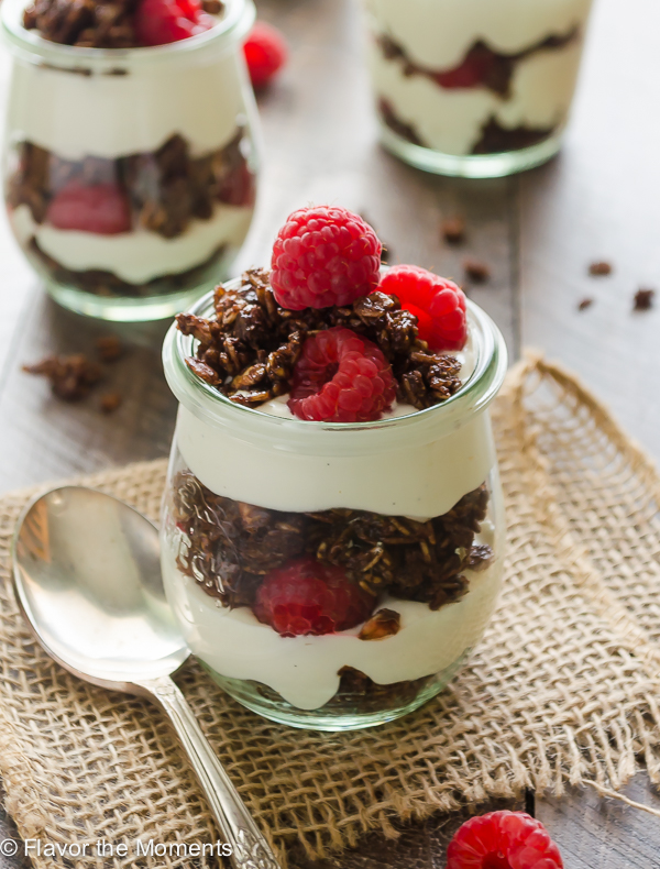 Chocolate Raspberry Cheesecake Yogurt Parfaits - Flavor the Moments