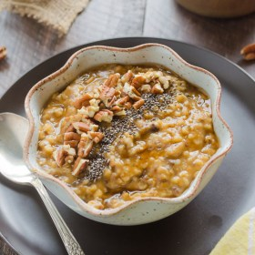 Slow Cooker Pumpkin Chia Steel Cut Oats are creamy steel cut oats packed with pumpkin, chia seeds, and plenty of pumpkin spice. This is a healthy make-ahead breakfast that's perfect for busy mornings! @FlavortheMoment