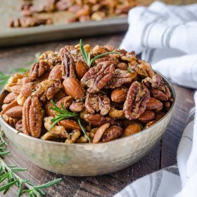 maple rosemary roasted nuts in a bowl