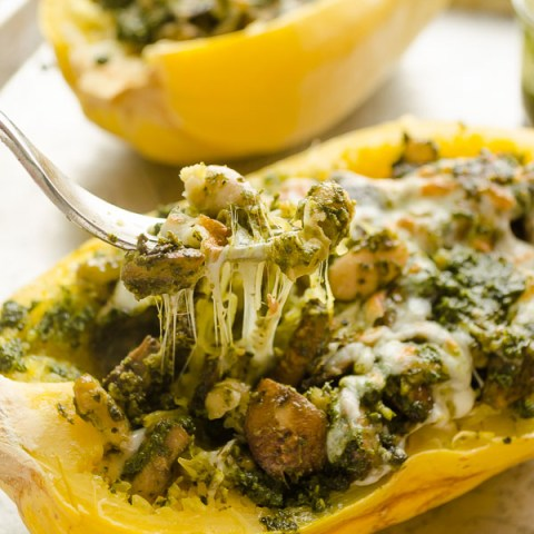 fork full of pesto vegetarian spaghetti squash