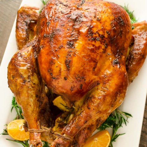 Dry Brined Orange Rosemary Roasted Turkey