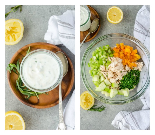 Lemon Tarragon Chicken Salad Lettuce Wraps