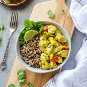 30-Minute Coconut Curry Chicken and Vegetables is a high-protein meal loaded with tender chicken, seasonal veggies, and creamy coconut curry sauce! @villageharvest