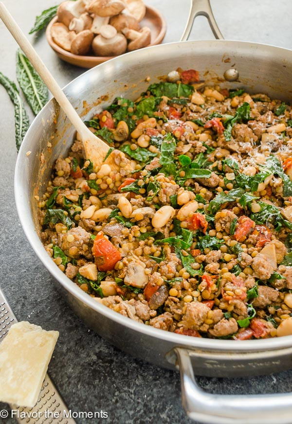 Tuscan Sausage, Wild Mushroom, Kale and Lentil Skillet is a rustic, comforting meal that's as nutritious as it is delicious! {GF} @FlavortheMoment