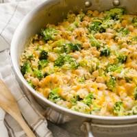 Broccoli chickpea rice casserole in skillet