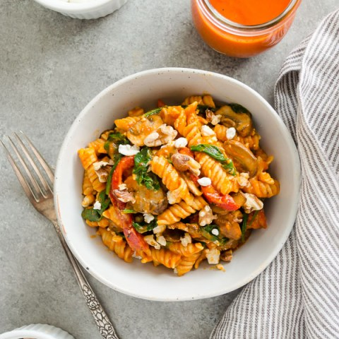 Roasted Red Pepper Pasta with Goat Cheese, Mushrooms, and Spinach {GF, VEG}