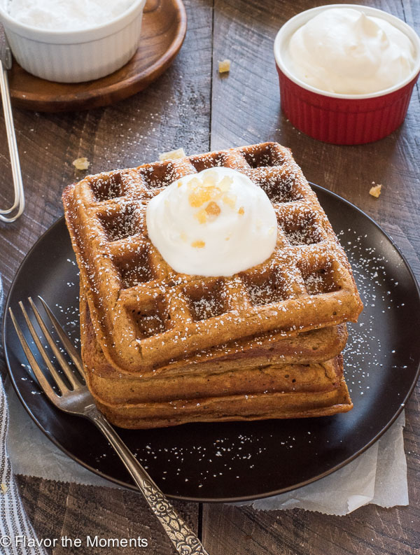 One Bowl Gingerbread Waffles are fluffy whole grain waffles with big sweet and spicy gingerbread flavor!