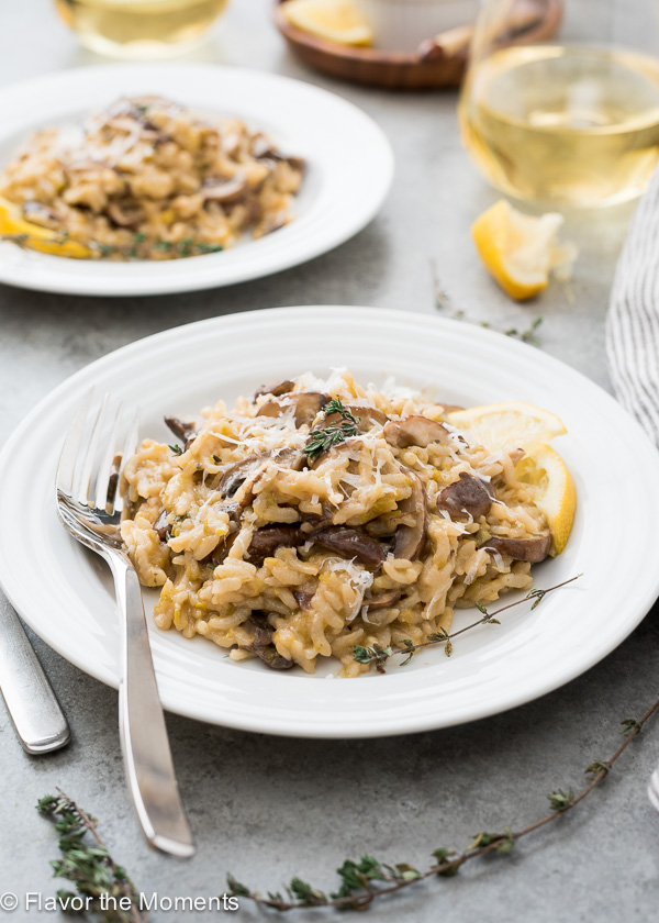 Instant Pot Wild Mushroom Leek Risotto is pressure cooker risotto that's made in around 30 minutes with no bothersome stirring! {GF, VEG}