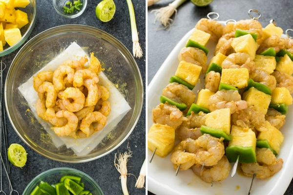 Curried Shrimp Skewers with Pineapple are marinated coconut curry shrimp skewered with fresh pineapple and bell pepper.  They're the perfect sweet and savory appetizer or meal!
