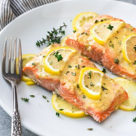 close up front view of baked lemon dijon salmon