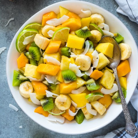 Tropical Fruit Salad with Lime and Coconut