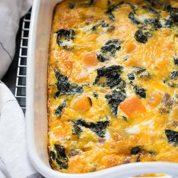 Sausage, Butternut Squash and Kale Breakfast Casserole