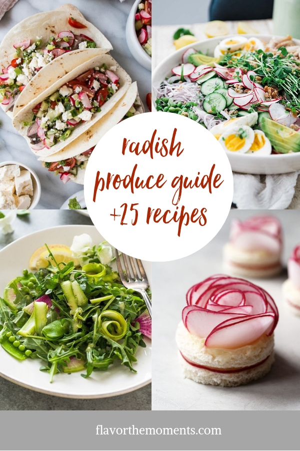 Produce of the Month Guide: Radishes is a produce guide including different radish varieties, how to grow, health benefits, and 25 of the best radish recipes!
