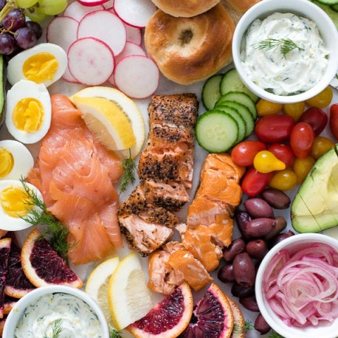 hot and cold smoked salmon platter close-up