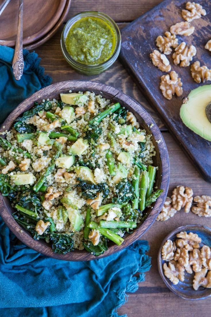 Pesto Quinoa Salad with Asparagus, Avocado, and Kale