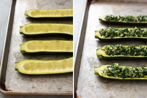 zucchini boat process collage