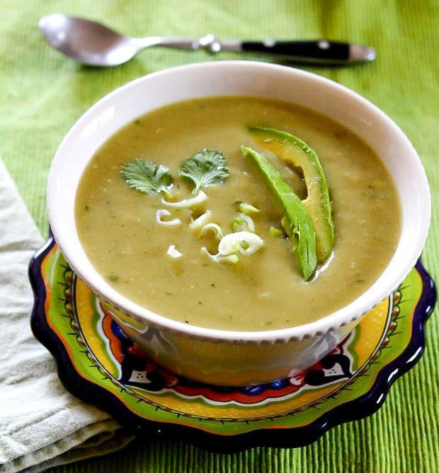 Vegan Chayote Green Chile Soup (Instant Pot pressure cooker option)