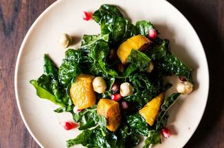 Hearty Kale Salad with Kabocha Squash, Pomegranate Seeds, and Toasted Hazelnuts Recipe on Food52