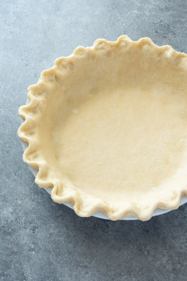 front view of flaky pie crust