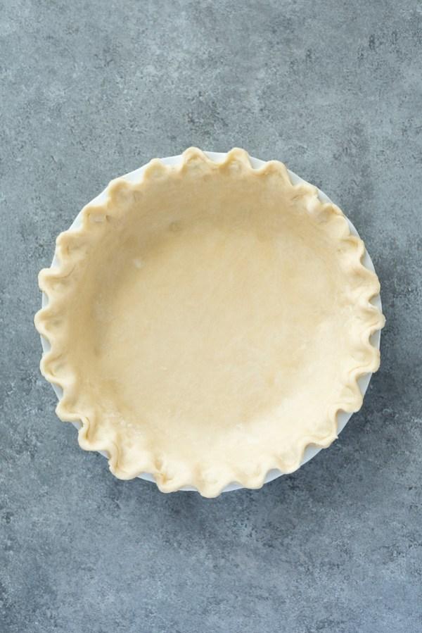 distant overhead shot of flaky pie crust