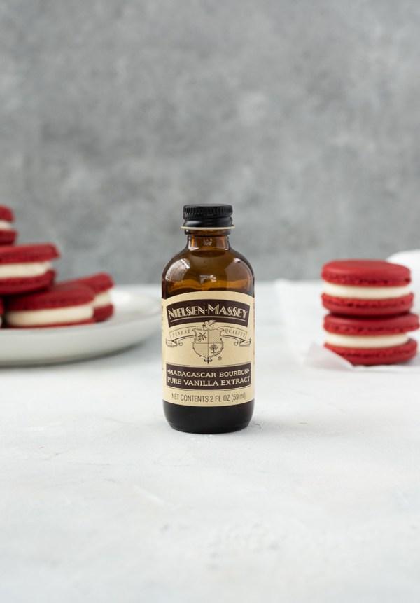 nielsen massey vanilla with red velvet macarons 2