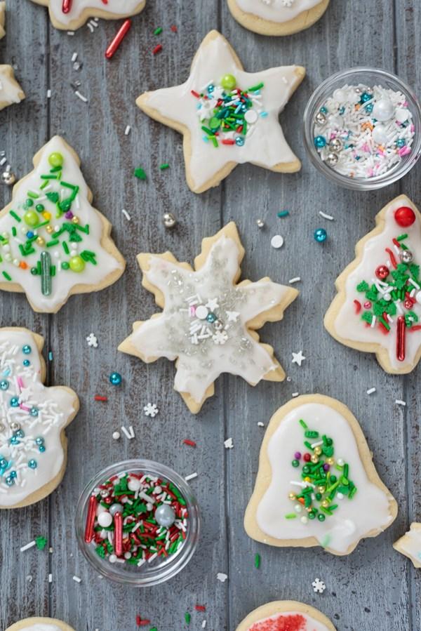 christmas sugar cookies featuring snowflake sugar cookie