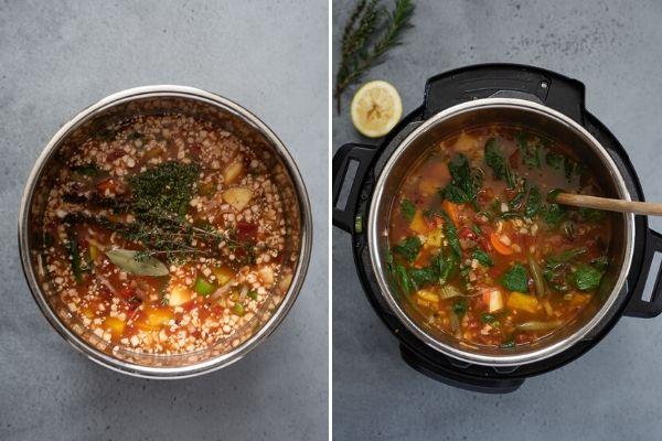 instant pot vegetable soup process collage 2