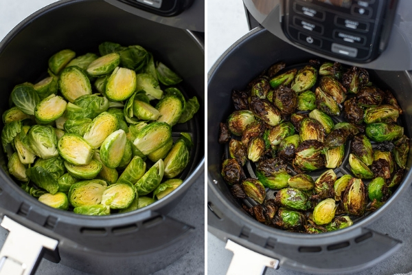 process collage of air fryer brussels sprouts before and after air frying