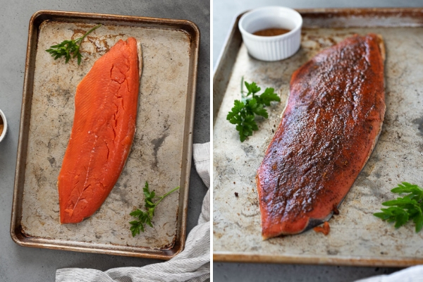 broiled salmon before cooking, with and without salmon rub