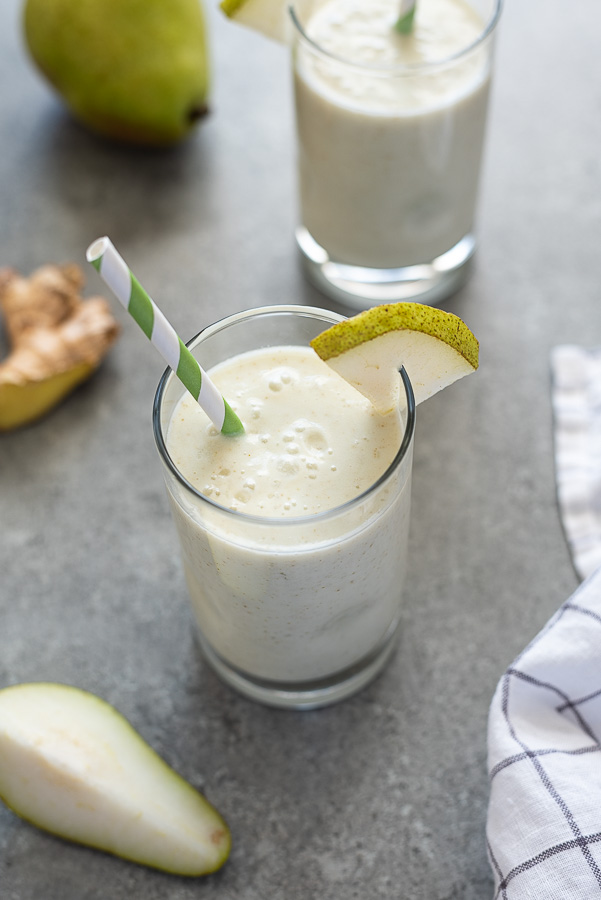 pear smoothie angled over shot