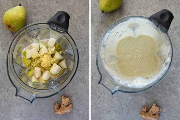 pear smoothie collage before and after blending