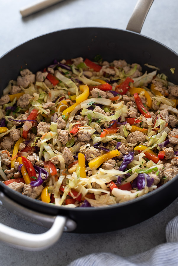 egg roll in a bowl recipe in skillet