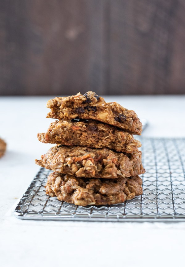 short stack of carrot oatmeal cookies