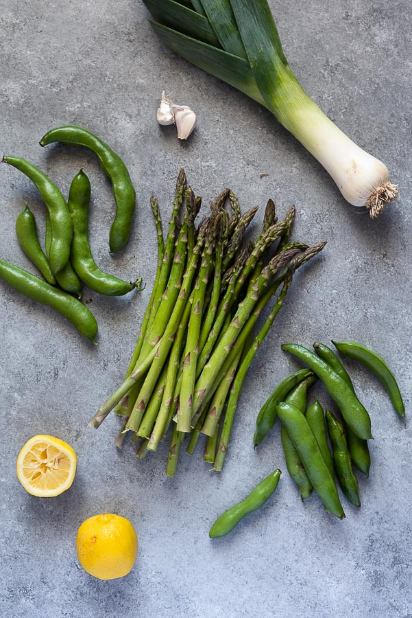 spring risotto produce