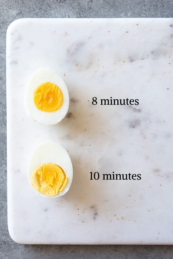 hard boiled eggs with cooking times next to them