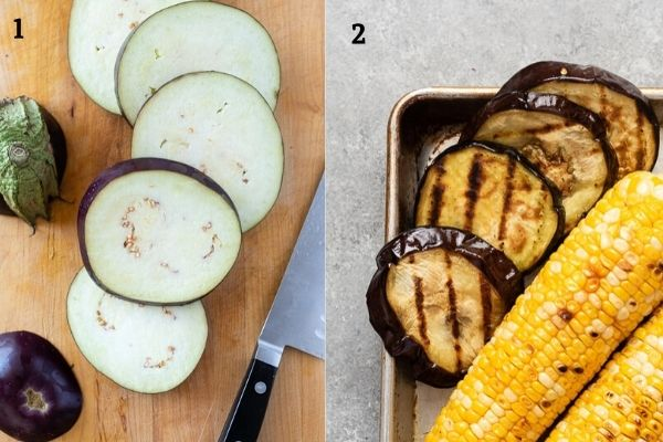 Collage of grilled eggplant before and after grilling