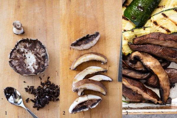 Collage of grilled portobello mushrooms before and after grilling