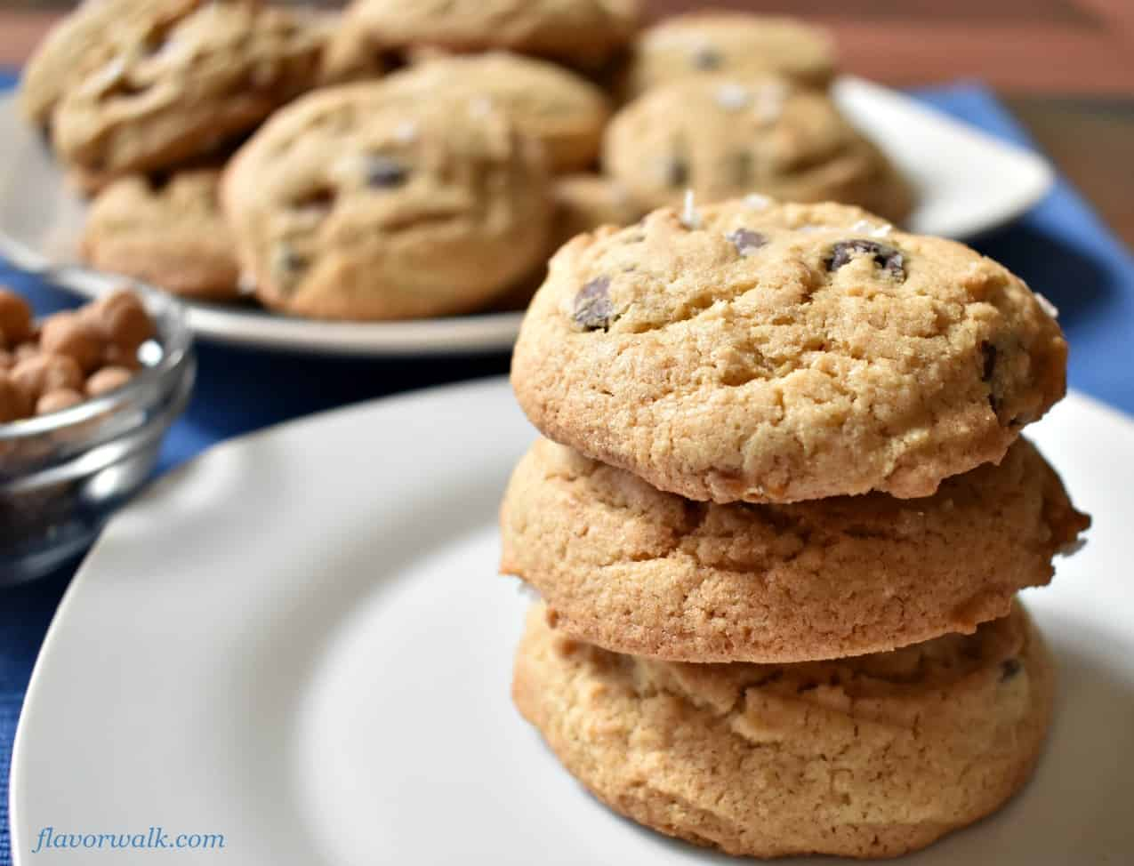 Salted Caramel Chocolate Chip Cookies get their rich flavor from caramel bits and semisweet chocolate chips. The sea salt, sprinkled on top, complements the richness with a salty bite!