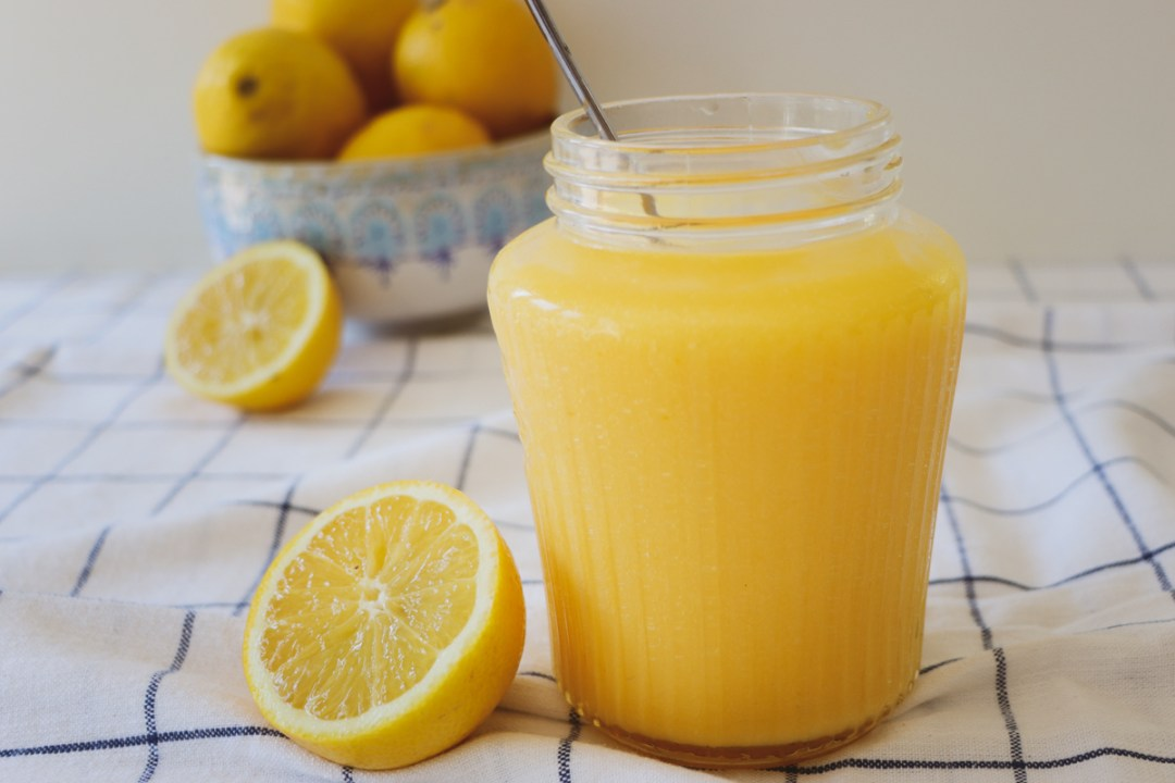Jar of homemade lemon curd - recipe from Flavour Files