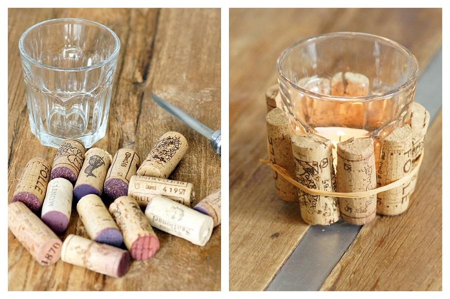 diy korken teelicht cork tea candle flavoured with love. Black Bedroom Furniture Sets. Home Design Ideas