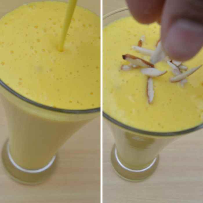 pouring mango lassi in a glass and adding few almond slices