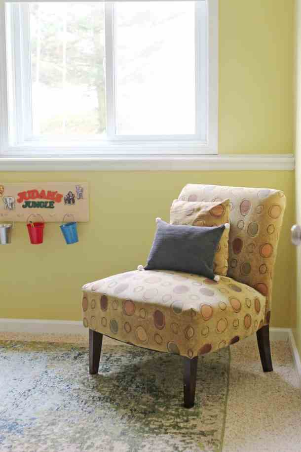 reading chair in schoolroom