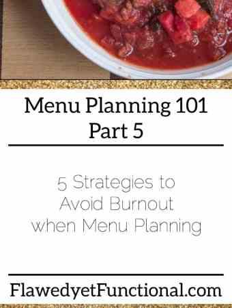 Menu Planning Avoid Burnout
