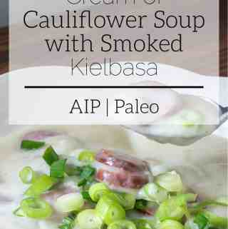cream of cauliflower soup with smoked kielbasa