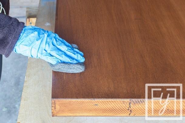 sanding top coat of Desk from a Door