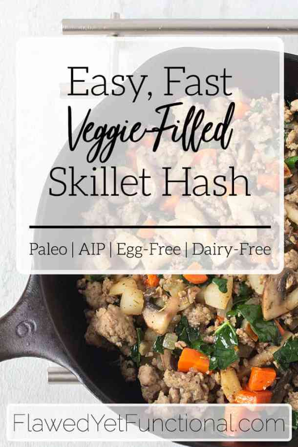 Do you need a veggie-filled vegetable breakfast that comes together FAST? Try this easy vegetable breakfast skillet hash that filled with kale, mushrooms, root vegetables and sausage! #paleo #breakfast #aip