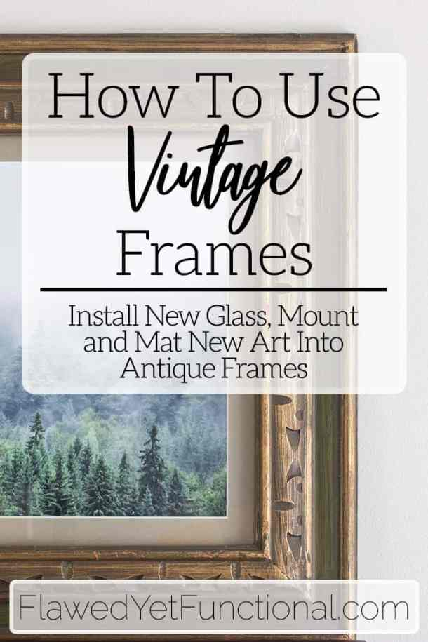vintage brown and green picture frame with forest photo