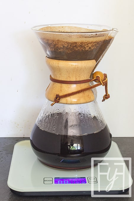 finished pour over coffee in chemex coffeemaker
