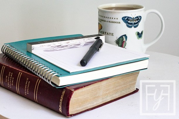 bible notebook and hot tea for daily time with jesus