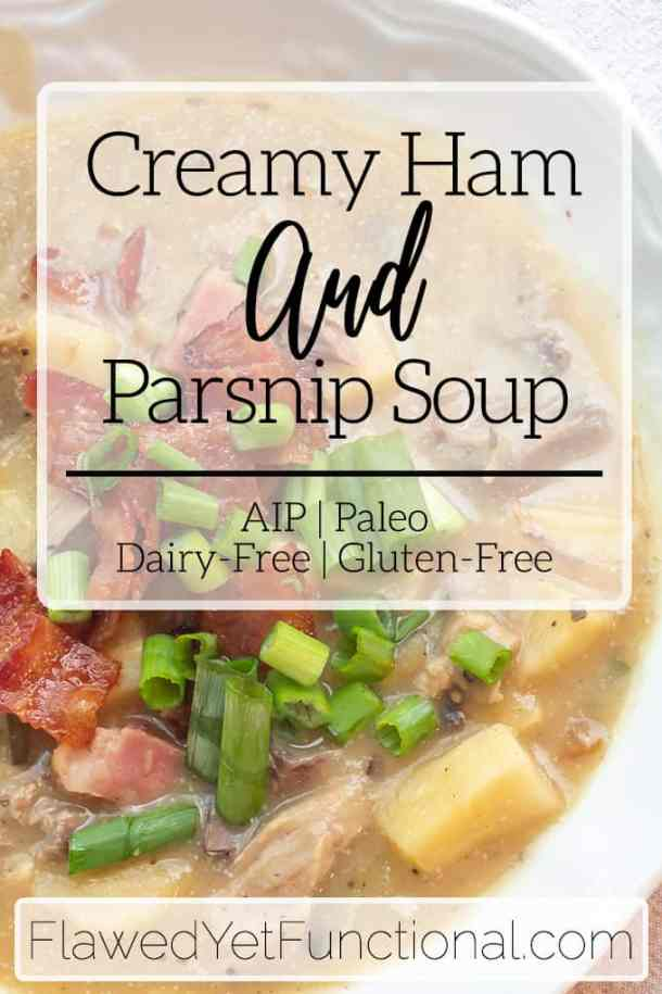 paleo ham soup in white bowl with bacon